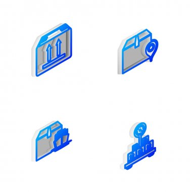 Set Isometric line Location with cardboard box, Cardboard traffic, Cargo ship boxes and Scale icon. Vector. icon