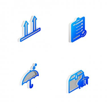 Set Isometric line Verification of delivery list, This side up, Umbrella and rain drops and Plane cardboard box icon. Vector. icon