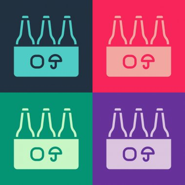 Pop art Pack of beer bottles icon isolated on color background. Case crate beer box sign.  Vector icon