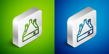 Isometric line Pack of beer bottles icon isolated on green and blue background. Case crate beer box sign. Silver square button. Vector icon