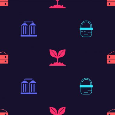 Set Basket, Granary, Plant and Bag of flour on seamless pattern. Vector icon