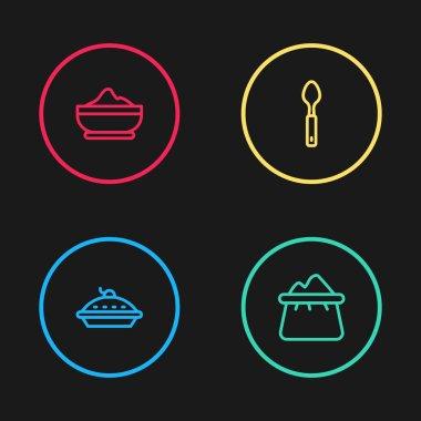 Set line Homemade pie, Bag of flour, Spoon and Flour bowl icon. Vector icon