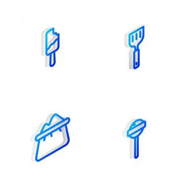 Set Isometric line Spatula, Ice cream, Bag of flour and Lollipop icon. Vector icon