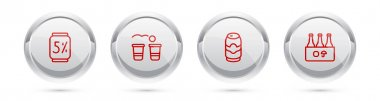Set line Beer can, pong game,  and Pack of beer bottles. Silver circle button. Vector icon