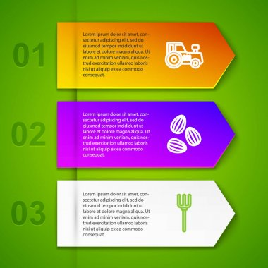 Set line Tractor, Seeds and Garden pitchfork. Business infographic template. Vector icon