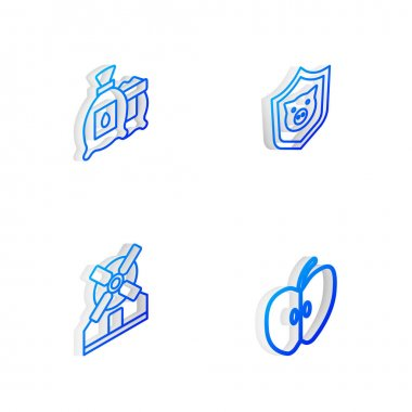 Set Isometric line Shield with pig, Pack full of seeds of plant, Windmill and Apple icon. Vector icon