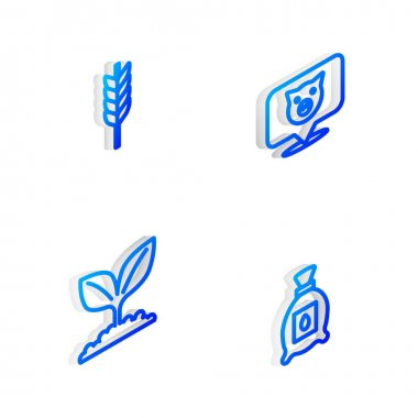 Set Isometric line Pig, Wheat, Plant and Pack full of seeds of plant icon. Vector icon
