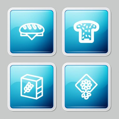 Set line Bread loaf, toast, Flour pack and Pack full of seeds of plant icon. Vector icon