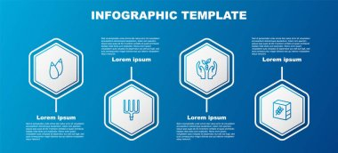 Set line Seed, Garden pitchfork, Plant in hand and Flour pack. Business infographic template. Vector icon