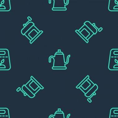 Set line Watering can, Manual coffee grinder and Pack full seeds plant on seamless pattern. Vector icon