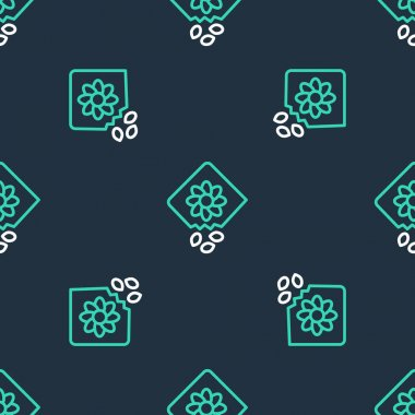 Line Pack full of seeds of a specific plant icon isolated seamless pattern on black background.  Vector icon