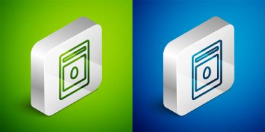 Isometric line Pack full of seeds of a specific plant icon isolated on green and blue background. Silver square button. Vector icon