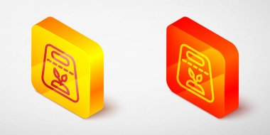 Isometric line Pack full of seeds of a specific plant icon isolated on grey background. Yellow and orange square button. Vector icon