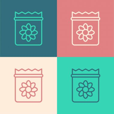 Pop art line Pack full of seeds of a specific plant icon isolated on color background.  Vector icon