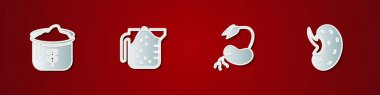 Set Bag of flour, Measuring cup, Sprout and Seed icon. Vector icon