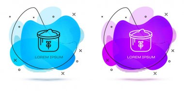 Line Bag of flour icon isolated on white background. Abstract banner with liquid shapes. Vector icon