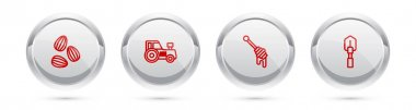 Set line Seeds, Tractor, Honey dipper stick and Shovel. Silver circle button. Vector icon