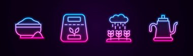Set line Flour bowl, Pack full of seeds of plant, Plant sprouts grow in the rain and Watering can. Glowing neon icon. Vector icon