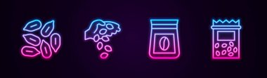 Set line Seed, , Bag of coffee beans and Pack full seeds plant. Glowing neon icon. Vector icon