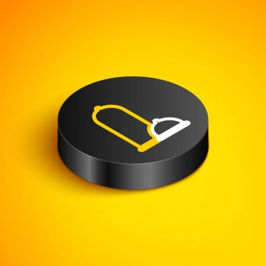 Isometric line Condoms safe sex icon isolated on yellow background. Safe love symbol. Contraceptive method for male. Black circle button. Vector icon