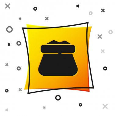 Black Full sack icon isolated on white background. Yellow square button. Vector. icon