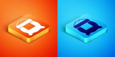 Isometric Bag of flour icon isolated on orange and blue background. Vector. icon