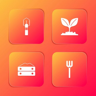 Set Shovel, Plant, Bag of flour and Garden pitchfork icon. Vector. icon