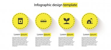 Set Pack full of seeds of plant, Chicken egg in box, Plant and Farm house. Business infographic template. Vector. icon