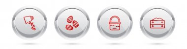 Set line Watering can, Seeds, Basket and Bag of flour. Silver circle button. Vector. icon