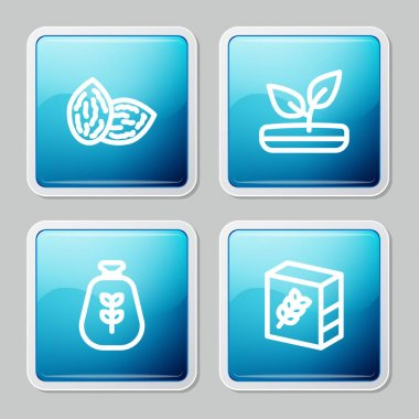 Set line Seed, Sprout, Bag of flour and Flour pack icon. Vector. icon