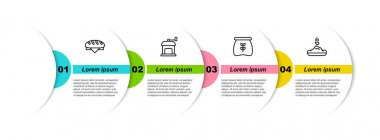 Set line Bread loaf, Manual coffee grinder, Bag flour and Seed. Business infographic template. Vector. icon