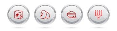 Set line Flour pack, Beans, bowl and Garden pitchfork. Silver circle button. Vector. icon