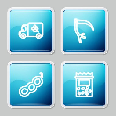 Set line Flour truck, Scythe, Green peas and Pack full of seeds of plant icon. Vector. icon