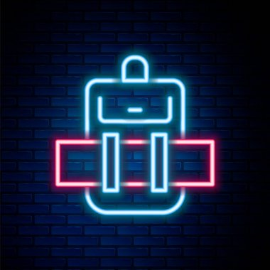Glowing neon line Hiking backpack icon isolated on brick wall background. Camping and mountain exploring backpack. Colorful outline concept. Vector icon