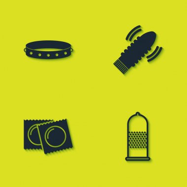 Set Leather fetish collar, Condom safe sex, Condoms in package and Dildo vibrator for games icon. Vector. icon