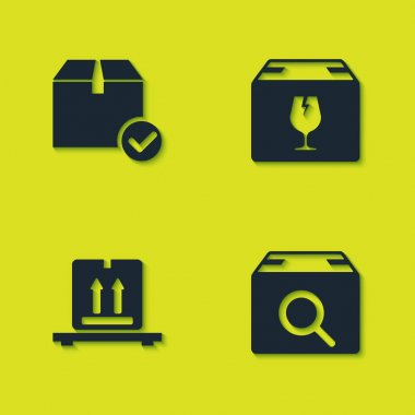 Set Package box with check mark, Search package, Cardboard boxes on pallet and Delivery fragile content icon. Vector. icon