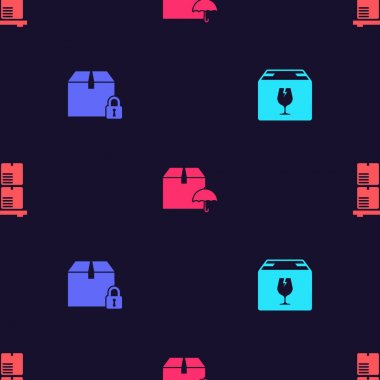 Set Delivery box with fragile content, Locked package, umbrella and Cardboard boxes pallet on seamless pattern. Vector. icon