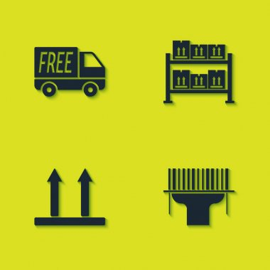 Set Free delivery service, Scanner scanning bar code, This side up and Warehouse icon. Vector. icon