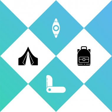 Set Tourist tent, Swiss army knife, Kayak or canoe and Hiking backpack icon. Vector. icon