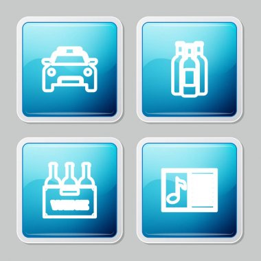 Set line Police car and flasher, Bottles of wine, box and Music book with note icon. Vector. icon