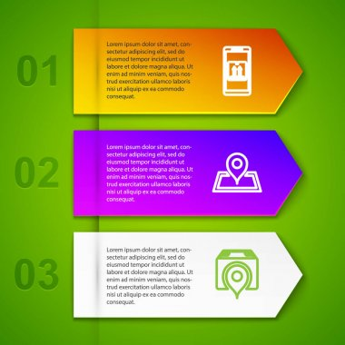Set line Mobile with app tracking, Placeholder on map, Location cardboard box and Cardboard traffic. Business infographic template. Vector. icon