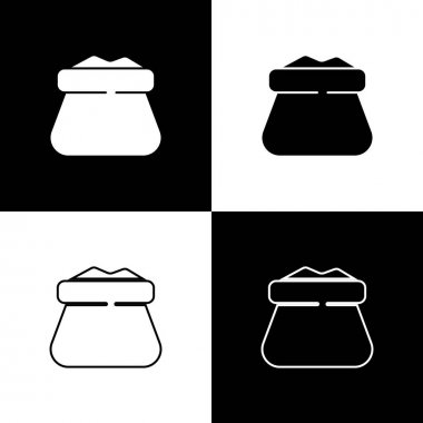 Set Full sack icon isolated on black and white background.  Vector. icon