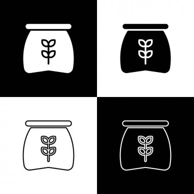 Set Bag of flour icon isolated on black and white background.  Vector icon