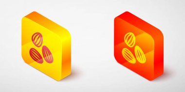 Isometric line Seeds of a specific plant icon isolated on grey background. Yellow and orange square button. Vector icon
