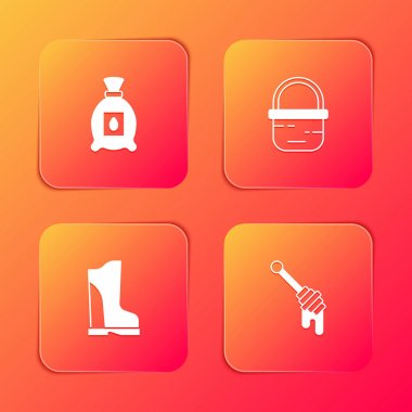 Set Pack full of seeds of plant, Basket, Waterproof rubber boot and Honey dipper stick icon. Vector icon