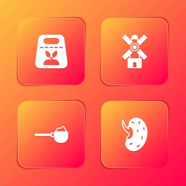 Set Pack full of seeds of plant, Windmill, Measuring cup with flour and Seed icon. Vector icon