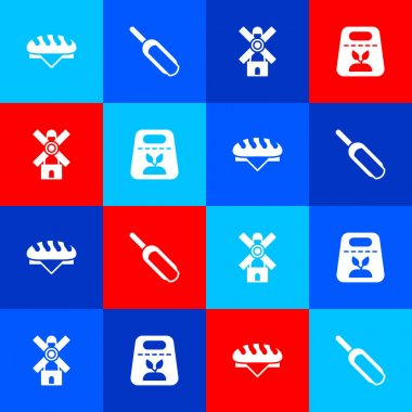 Set Bread loaf, Scoop flour, Windmill and Pack full of seeds of plant icon. Vector icon
