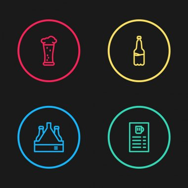Set line Pack of beer bottles, Beer menu, Plastic and Glass icon. Vector icon