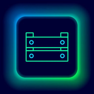 Glowing neon line Wooden box icon isolated on black background. Grocery basket, storehouse crate. Empty wooden container for vegetables, products. Colorful outline concept. Vector icon