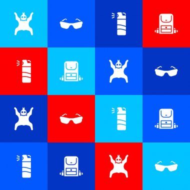 Set Bear skin, Glasses, Pepper spray and Hiking backpack icon. Vector. icon